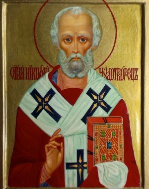 Painting, Religious genre - Icon Of Saint Nicholas The Wonderworker.