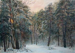Painting, Landscape - From the series Krasny Bor «Winter Evening»