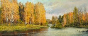 Painting, Realism - Golden autumn in Nagati