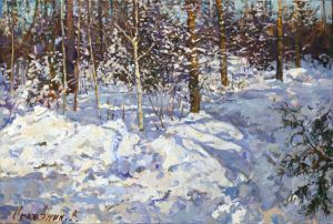 Painting, Landscape - The February snow