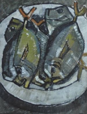 Painting, Still life - Fish on a plate