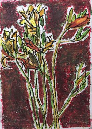 Graphics, Still life - Alstroemerias on red