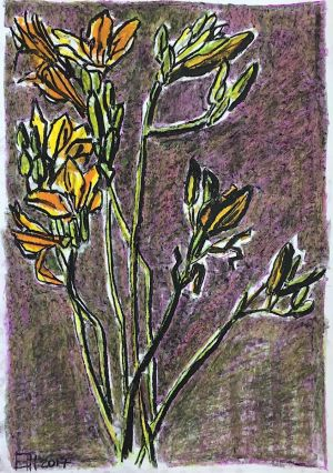 Graphics, Still life - Flowers on purple