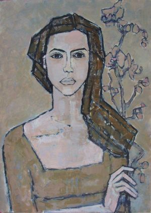 Painting, Portrait - Self-portrait with orchid