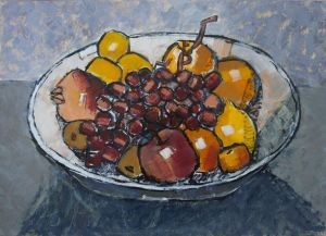Painting, Still life - Fruit on a plate