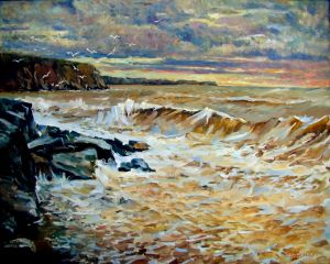 Painting, Realism - The storm in Sandy. Crimea