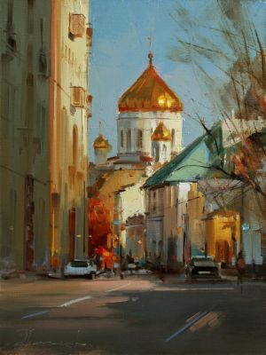 Painting, City landscape - Autumn in Gagarinsky lane. Moscow.