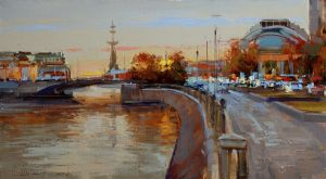 Painting, Realism - Twilight. Moscow, view of the Small Stone Bridge.