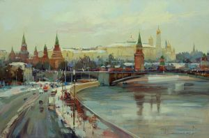Painting, City landscape - Moscow. Winter on Borovitsky Hill.