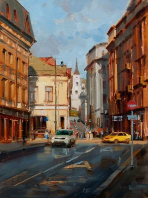 Painting, City landscape - Moscow autumn. The city is saturated with golden ocher. Solyansky passage.