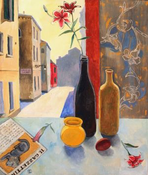 Painting, Impressionism - Stillife in Venice