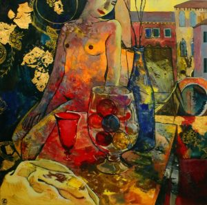 Painting, Nude (nudity) - Venice glass