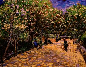 Painting, City landscape - Street with flowering chestnut trees at Arles (with van Gogh COP.)