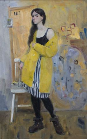 Painting, Modern - Girl in yellow