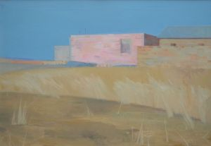 Painting, Landscape - landscape with pink house