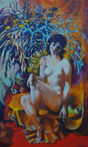 Painting, Nude (nudity) - Winter bouquet