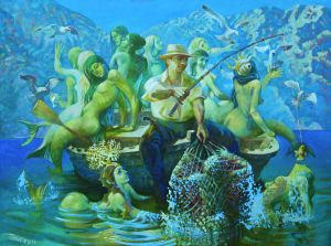 Painting, Mythological genre - dream of fisher