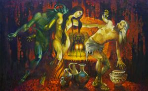 Painting, Mythological genre - Temptation