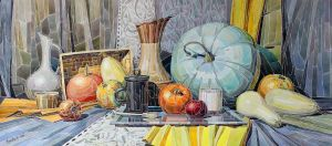 Graphics, Realism - Still life with pumpkins