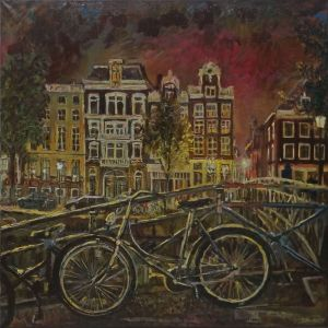 Painting, City landscape - Amsterdam