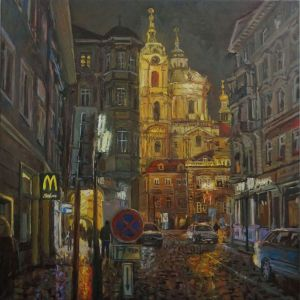 Painting, City landscape - Prague