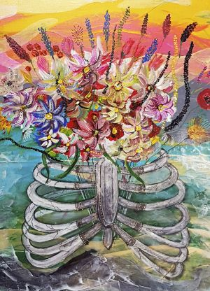 Painting, Surrealism - flowers in the chest