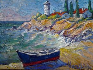 Painting, Seascape - Lodka-u-mayaka