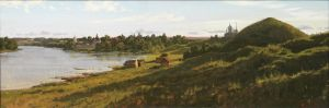 Painting, Landscape - Old Russian town Staraya Ladoga