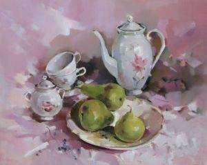 Painting, Still life - Still life with pears