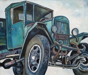 Painting, Realism - Portrait of a car and a half UralZIS