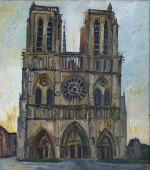 Painting, City landscape - Paris, Notre Dame Cathedral, earlier morning