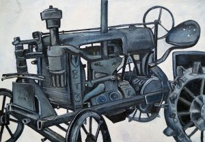Painting, Realism - Black tractor from Belgorod