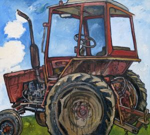 Painting, Genre painting - Tractor Vladimir from the village of Knyazhino