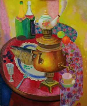 Painting, Still life - Samovar