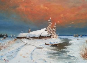 Painting, Landscape - Winter landscape