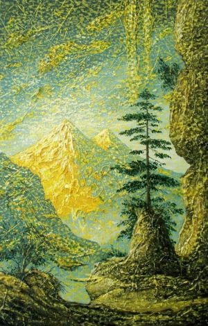 Painting, Expressionism - Golden Elbrus.