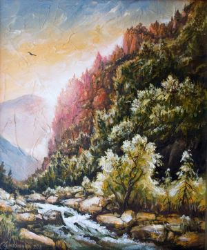 Painting, Landscape - Morning in the mountains.