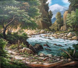 Painting, Landscape - Summer by the river.