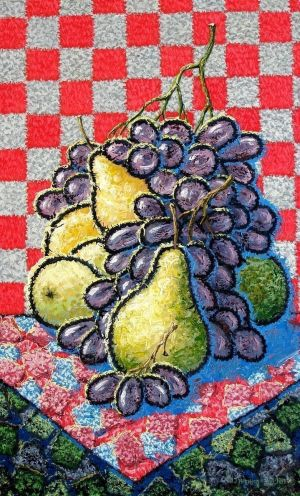 Painting, Surrealism - Pears and grapes.