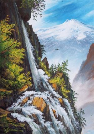 Painting, Landscape - Waterfall