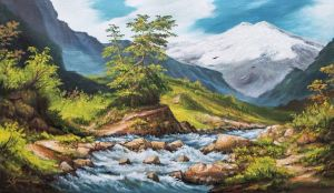 Painting, Realism - View of the Elbrus