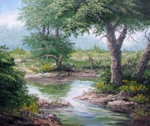 Painting, Realism - Summer trees by the water.