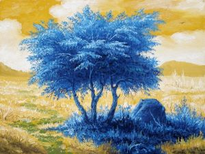 Painting, Expressionism - Landscape with a blue tree