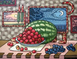 Painting, Surrealism - Strawberry watchman.