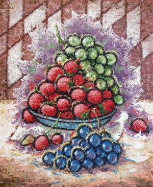 Painting, Surrealism - Still life with strawberries.