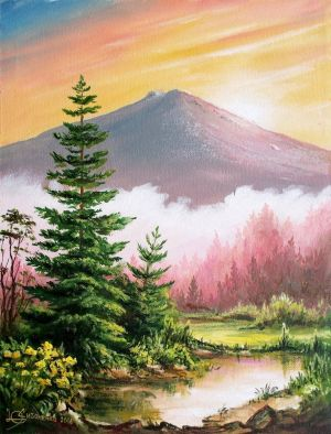 Painting, Landscape - The morning dawn.