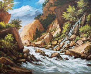 Painting, Landscape - In mountain gorges.