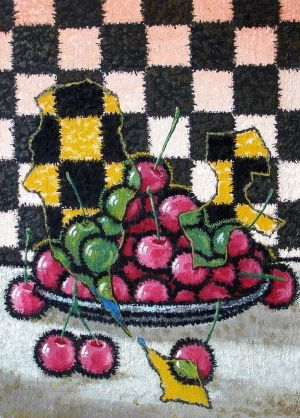 Painting, Surrealism - Plate with cherries.