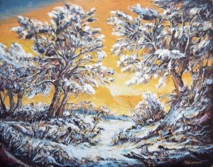 Painting, Landscape - Winter evening.