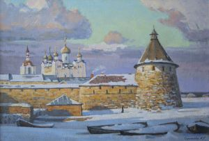 Painting, Landscape - Solovki-zimoy